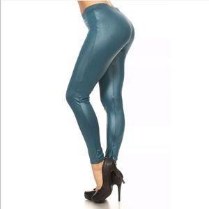 Pants - Faux Leather Metallic Leggings
